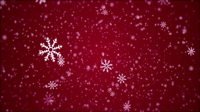 4k christmas - animazione fiocco di neve, sfondo rosso - palla dell'albero di natale video stock e b–roll