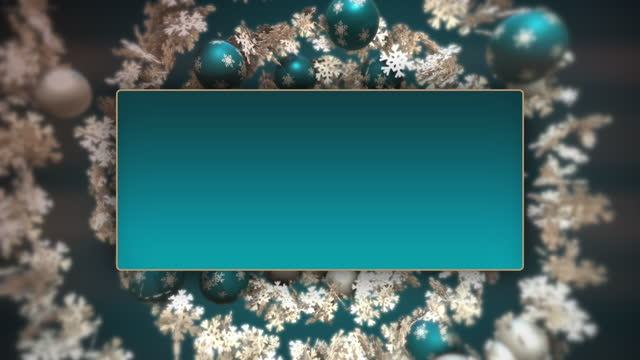 vidéos et rushes de spirale de noël avec des babioles bleues et blanches et des flocons de neige. - carte de noël