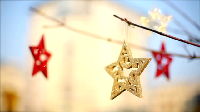 christmas star, christmas decorations, blinking, tree, gold - blinking star stock videos & royalty-free footage