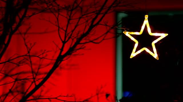 Christmas Star on Tree, Neon, Christmas, Christmas Ornaments, Red Background