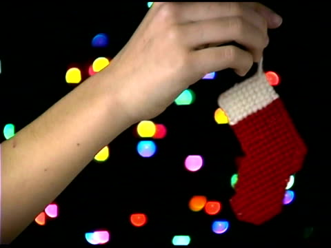 christmas stocking ornament - christmas stocking stock videos & royalty-free footage