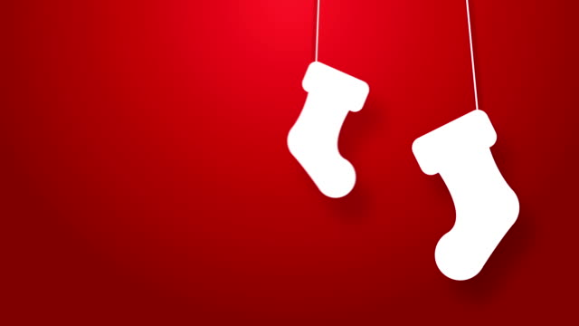 christmas stockings bouncing on a string animation. - stockings stock videos & royalty-free footage