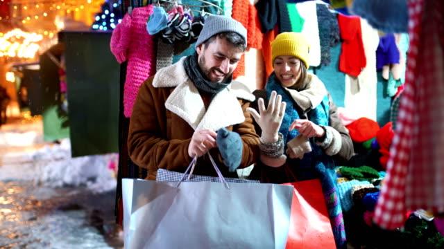 christmas street shopping. - mitten stock videos & royalty-free footage
