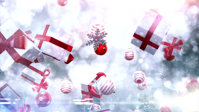 christmas symbols falling (silver/red) - loop - christmas gift stock videos & royalty-free footage