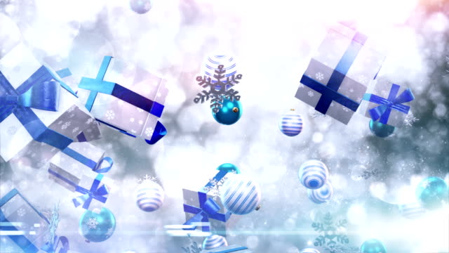 christmas symbols falling (silver/blue) - loop - tripping falling stock videos and b-roll footage