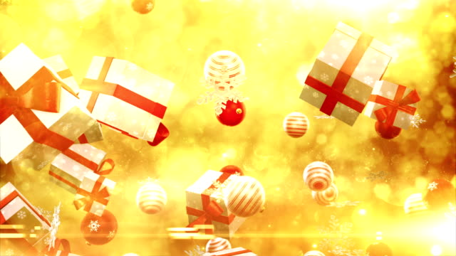 christmas symbols falling (gold/red) - loop - father christmas stock videos & royalty-free footage