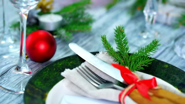 christmas table place - christmas decore candle stock videos & royalty-free footage