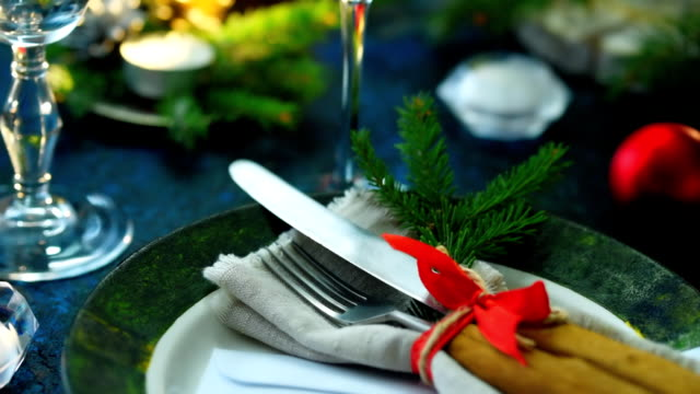 christmas table place - cutlery stock videos & royalty-free footage