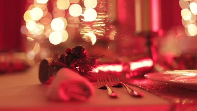 christmas table setting - christmas cracker stock videos and b-roll footage