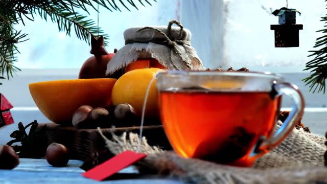 christmas tea - window sill stock videos and b-roll footage