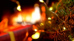 Christmas three on glow fireplace bokeh lights background