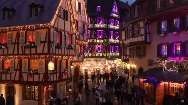 christmas time in colmar, alsace, france - french culture stock videos and b-roll footage