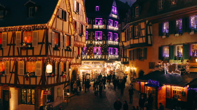 christmas time in colmar, alsace, france - france stock videos & royalty-free footage