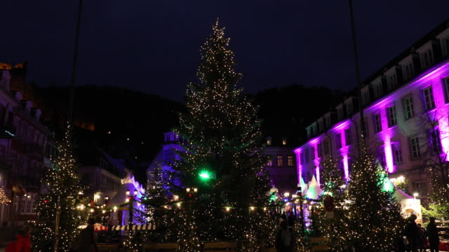 christmas time in heidelberg, germany - christmas tree stock videos & royalty-free footage