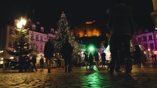 ハイデルベルク、ドイツのクリスマスの時期 - ハイデルベルク点の映像素材/bロール