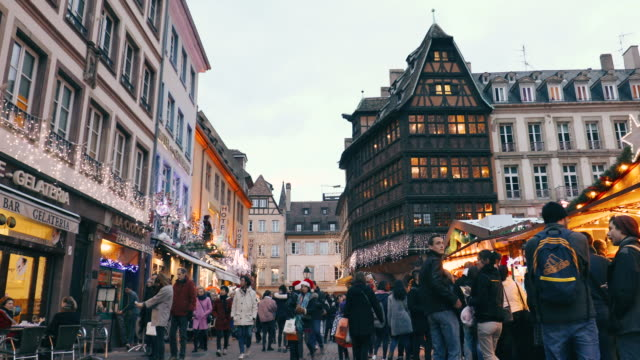 christmas time in strasbourg, france - christmas market stock videos & royalty-free footage
