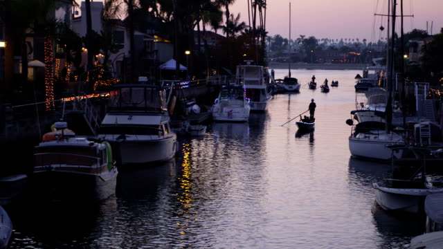 christmas time on the water - long beach california stock videos & royalty-free footage