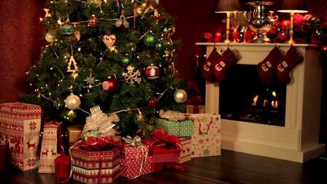 christmas time - fireplace stock videos and b-roll footage