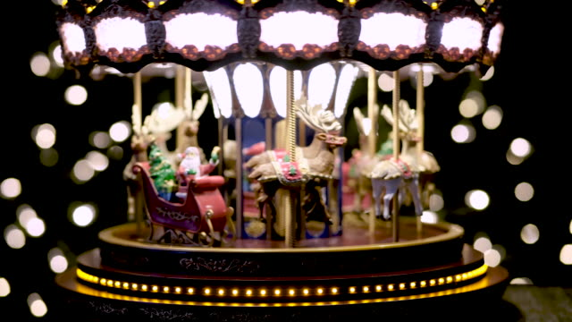 christmas toy carousel - roundabout stock videos & royalty-free footage