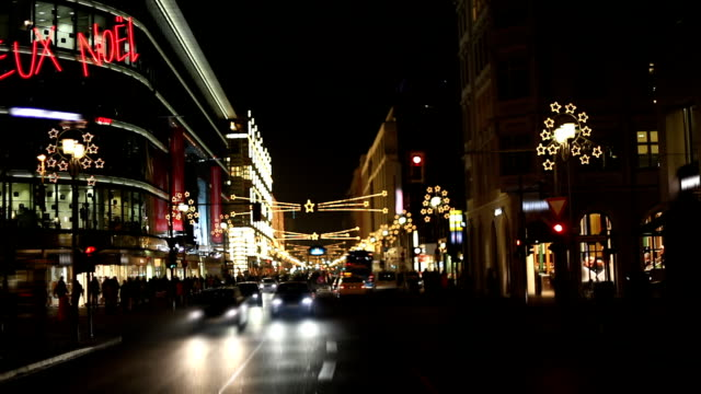 christmas traffic in the city - jeux noel - hesse germany stock videos and b-roll footage