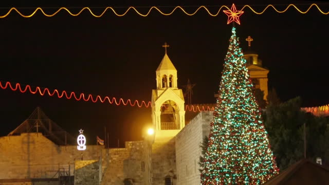 christmas tree and church of the nativity in bethlehem, westbank, palestine - church of the nativity stock videos and b-roll footage