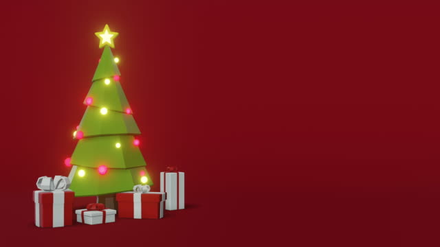 vídeos de stock e filmes b-roll de christmas tree animation with space for text - animação