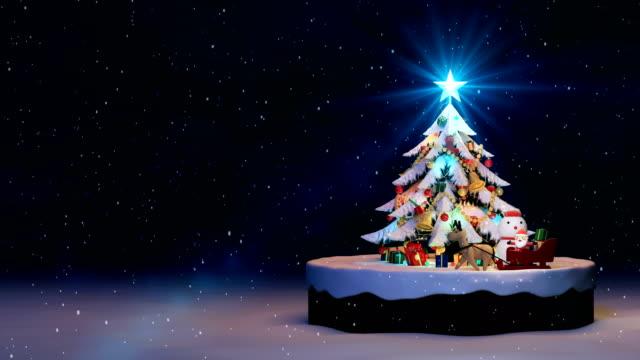 Weihnachtsbaum-Hintergrund, verziert, Weihnachtsbaum mit Geschenk-Boxen und Santa Claus glücklich und Rehe, animierte abstrakten heutigen Post Weihnachtsgrußkarte, 4 k Schleife
