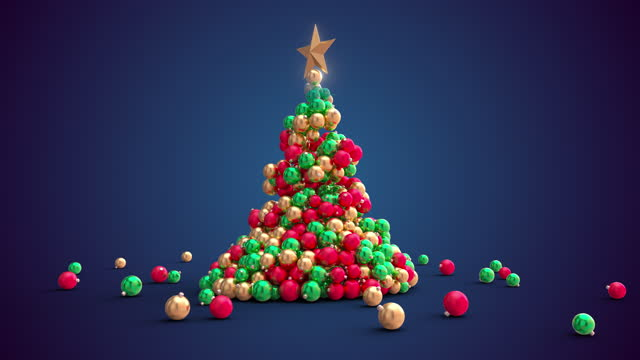 christmas tree being created of christmas ornaments or baubles in blue background - christmas tree stock videos & royalty-free footage