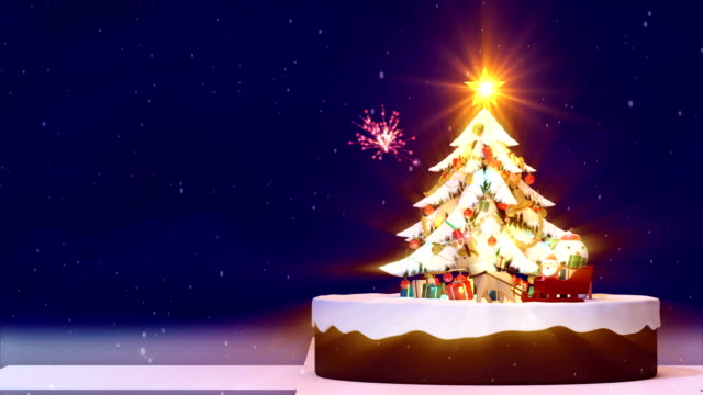 weihnachtsbaum blau hintergrund, verziert, weihnachtsbaum mit geschenk-boxen und santa claus glücklich und rehe, animierte abstrakten heutigen post weihnachtsgrußkarte, 4 k schleife - dekoration stock-videos und b-roll-filmmaterial