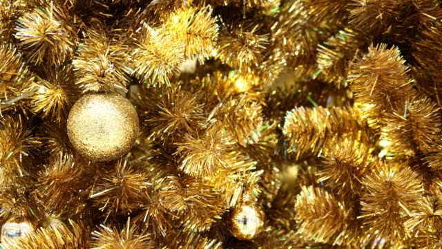 christmas tree decorated with golden - pinaceae stock videos & royalty-free footage