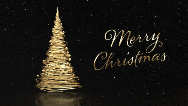 christmas tree from gold tapes over black background and gold title merry christmas - world title stock videos & royalty-free footage