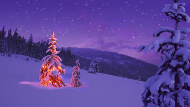 Christmas tree glowing on a snowy mountain side