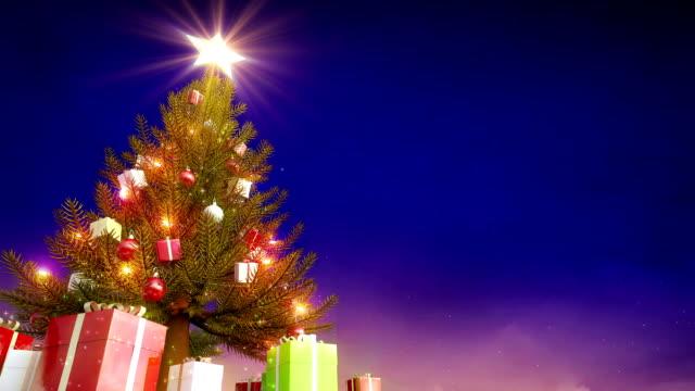 Christmas tree glowing, Santa Claus