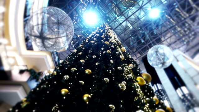 christmas tree in a mall - new year eve - christmas decoration stock videos and b-roll footage