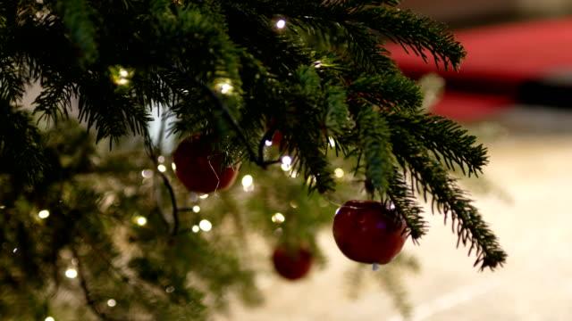 weihnachtsbaum in familiengeführte, weihnachtsbeleuchtung, weihnachtsdekoration - dekoration stock-videos und b-roll-filmmaterial