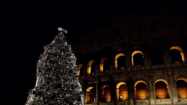 christmas tree in front of the coliseum - christmas tree stock videos & royalty-free footage
