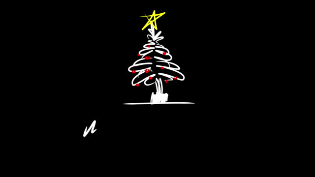 stockvideo's en b-roll-footage met christmas tree in sketch style animation - naaldboom
