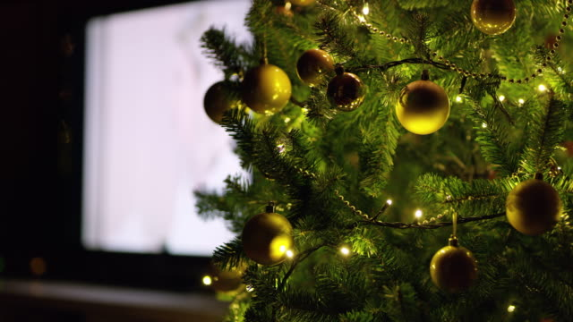 ds christmas tree in the living room - liquid crystal display television stock videos and b-roll footage