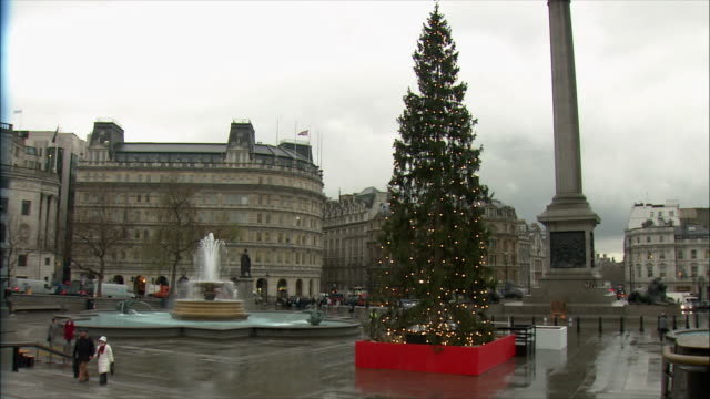 ws christmas tree in trafalgar square / london, united kingdom - christmas decoration stock videos & royalty-free footage