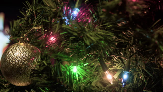 christmas tree lights twinkling - electric light stock videos and b-roll footage