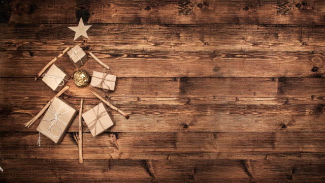 christmas tree made of wooden branches - legno video stock e b–roll