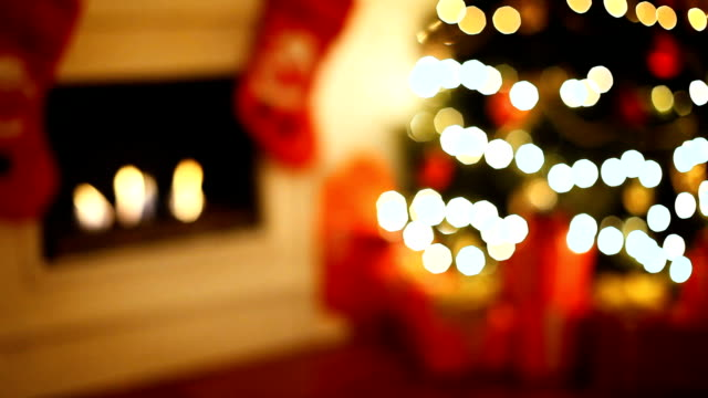 christmas tree near fireplace - stockings stock videos & royalty-free footage