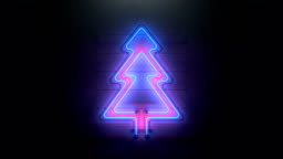 Christmas tree neon sign seamless loop 3D render animation