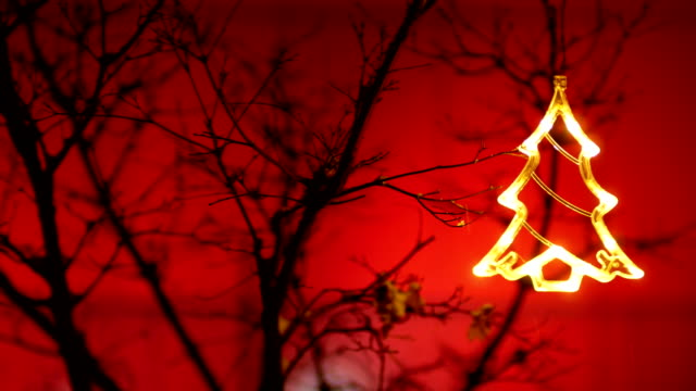 Christmas tree ornament hangs on tree branch red background