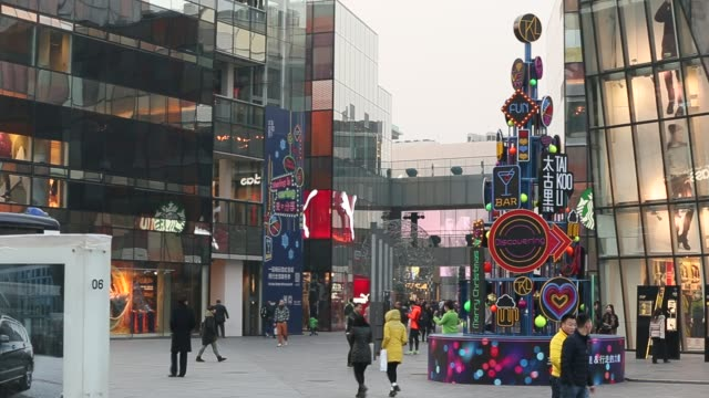 A Christmas tree sculpture in Sanlitun Village which is a famous and fashion shopping street in Beijing