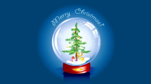 Christmas tree snow globe e-card / banner