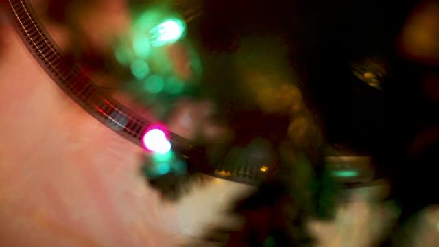 christmas tree train overhead cinematic - decoration stock videos & royalty-free footage