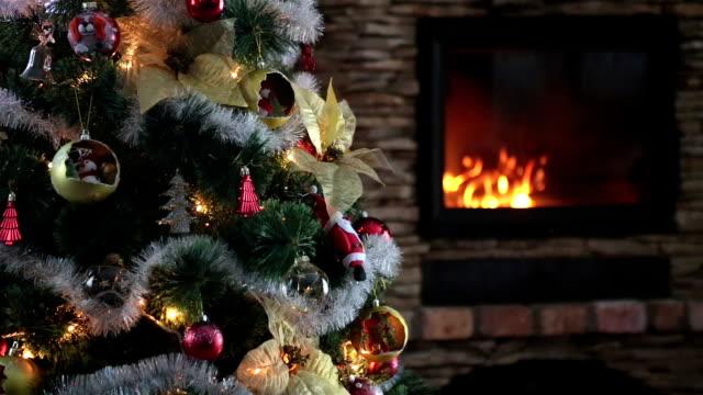 christmas tree. - fireplace stock videos & royalty-free footage