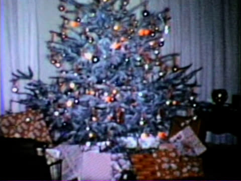 christmas tree - vintage super 8 film - 1950 stock videos & royalty-free footage