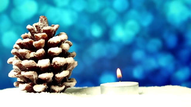 Christmas Tree with candle and glitter background